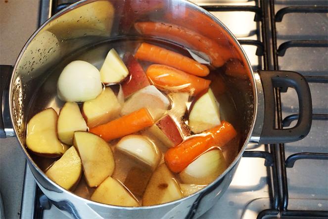 Pumpkin soup pot shot